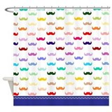 Rainbow Mustache Shower Curtain