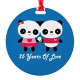 25th Anniversary Panda Couple Round Ornament