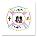Future Firefighter Pastel Square Car Magnet 3&quot