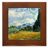 Van Gogh Wheat Field With Cypresses Framed Tile