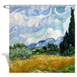 Van Gogh Wheat Field With Cypresses Shower Curtain