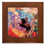 Odilon Redon Muse On Pegasus Framed Tile