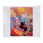 Odilon Redon Muse On Pegasus Throw Blanket