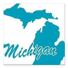 "3-michigan.png Square Car Magnet 3"" x 3"""