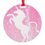 pink-unicorn-retro.png Round Ornament