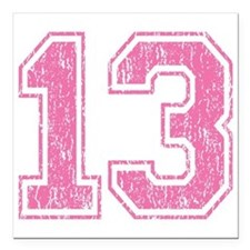 "Retro 13 Number Square Car Magnet 3"" x 3"""