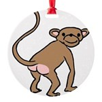 monkey-cheeky.png Round Ornament