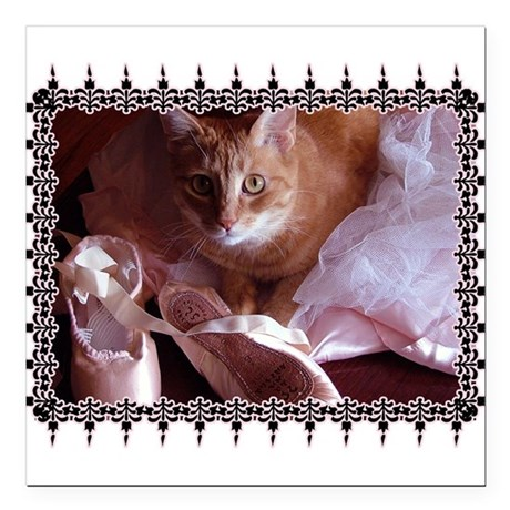 "CAT-BALLET_TEE.png Square Car Magnet 3"" x 3"""