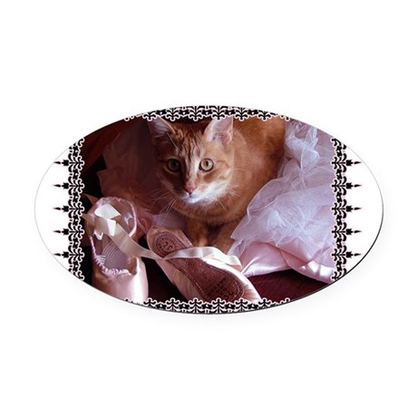 CAT-BALLET_TEE.png Oval Car Magnet