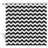 chevron pattern BLACK WHITE Shower Curtain