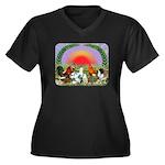 Farm Animals Women's Plus Size V-Neck Dark T-Shirt