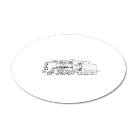 Steam Engine Train 20x12 Oval Wall Decal