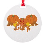 Halloween Pumpkin Cory Round Ornament