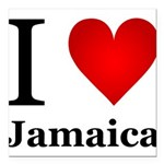 I Love Jamaica Square Car Magnet 3