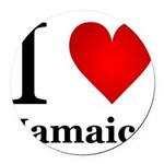 I Love Jamaica Round Car Magnet