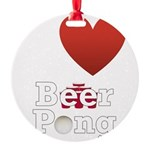 i-love-beer-pong-3-dark.png Round Ornament