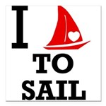i-love-to-sail.png Square Car Magnet 3