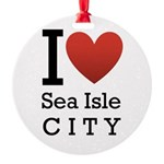 sea isle city rectangle.png Round Ornament