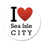 sea isle city rectangle.png Round Car Magnet