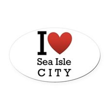 sea isle city rectangle.png Oval Car Magnet