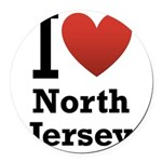i love north jersey.png Round Car Magnet