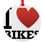 i-love-bikes.png Round Ornament