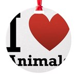 i-love-animals.png Round Ornament
