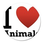 i-love-animals.png Round Car Magnet