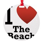 i-love-the-beach.png Round Ornament