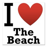 i-love-the-beach.png Square Car Magnet 3