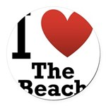 i-love-the-beach.png Round Car Magnet