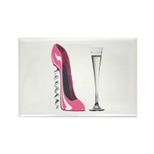 Pink Corkscrew Stiletto and Champagne Flute Rectan