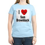 I Love Sam Brownback (Front) Women's Pink T-Shirt