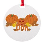 Halloween Pumpkin Don Round Ornament