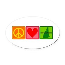 Peace Love New Hampshire Oval Car Magnet