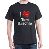 I Love Tom Daschle (Front) Black T-Shirt