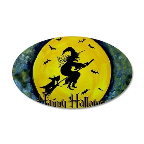 Scottie Witch Broom 35x21 Oval Wall Decal