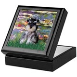 Lilies &amp; Schnauzer pup (Nat) Keepsake Box