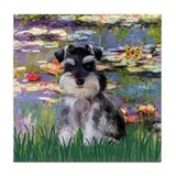 Lilies &amp; Schnauzer pup (Nat) Tile Coaster