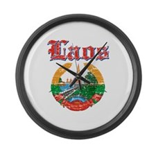 Laos Coat Of Arms Large Wall Clock