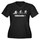 Threesome ? Women's Plus Size V-Neck Dark T-Shirt