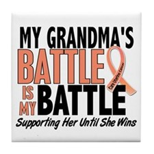 My Battle Too Uterine Cancer Tile Coaster