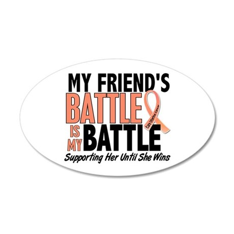 My Battle Too Uterine Cancer 20x12 Oval Wall Decal