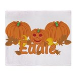 Halloween Pumpkin Eddie Throw Blanket