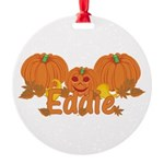 Halloween Pumpkin Eddie Round Ornament