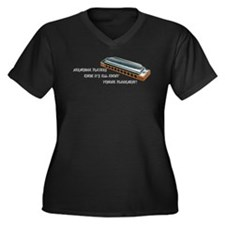 Harmonica Players Women's Plus Size V-Neck Dark T-