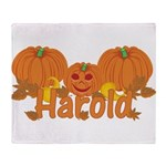 Halloween Pumpkin Harold Throw Blanket