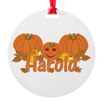 Halloween Pumpkin Harold Round Ornament