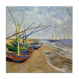 Van Gogh Fishing Boats Tile Coaster