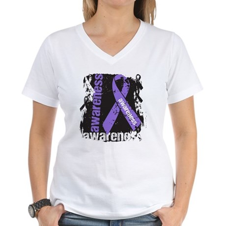 Grunge Hodgkin Lymphoma Women's V-Neck T-Shirt
